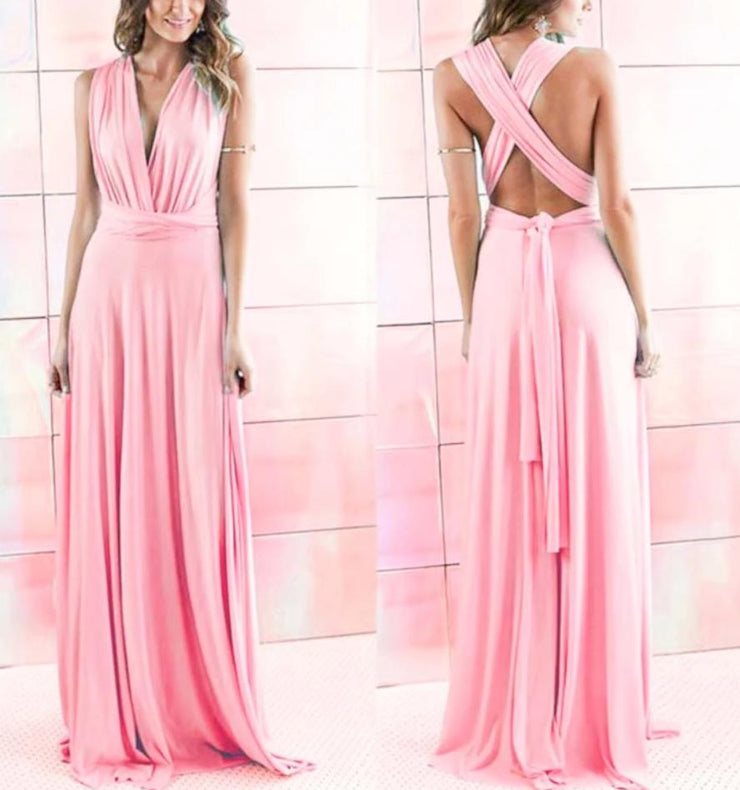 Coral Peach Convertible Infinity Multiway Wrap Bridesmaids Dresses