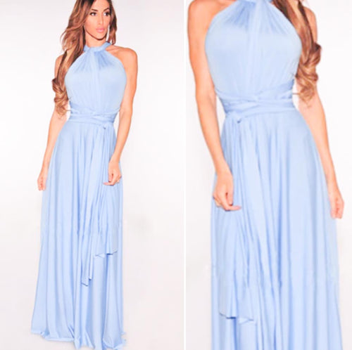 Cornflower Blue Convertible Infinity Multiway Wrap Bridesmaids Dresses