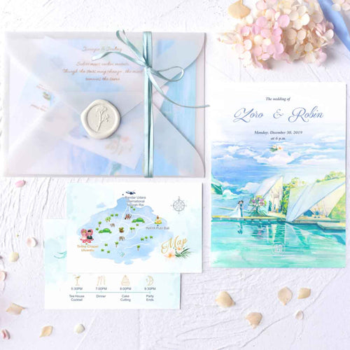 60 PCS Bali Tirtha Chapel Uluwatu Watercolor Illustration Wedding Invitations