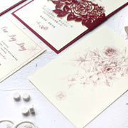 60 PCS Elegant Burgundy Red Laser Cut Floral Wedding Invitations