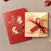 60 PCS Traditional Chinese Oriental Red Floral Wedding Invitations