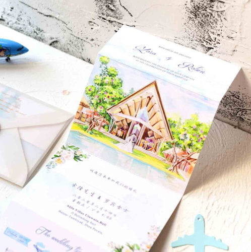 60 PCS Customize Your Wedding Destination Watercolor Illustration Wedding Invitations