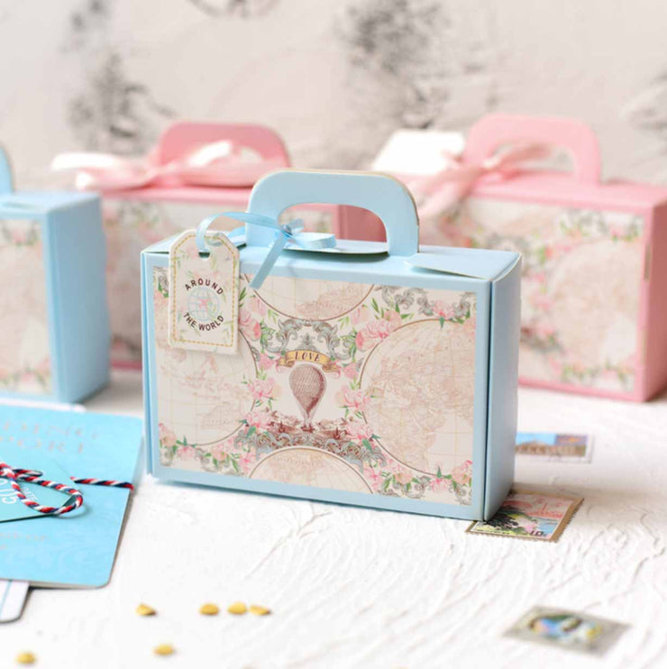 50 PCS Blue Luggage Gift & Favor Boxes for Wedding Candy
