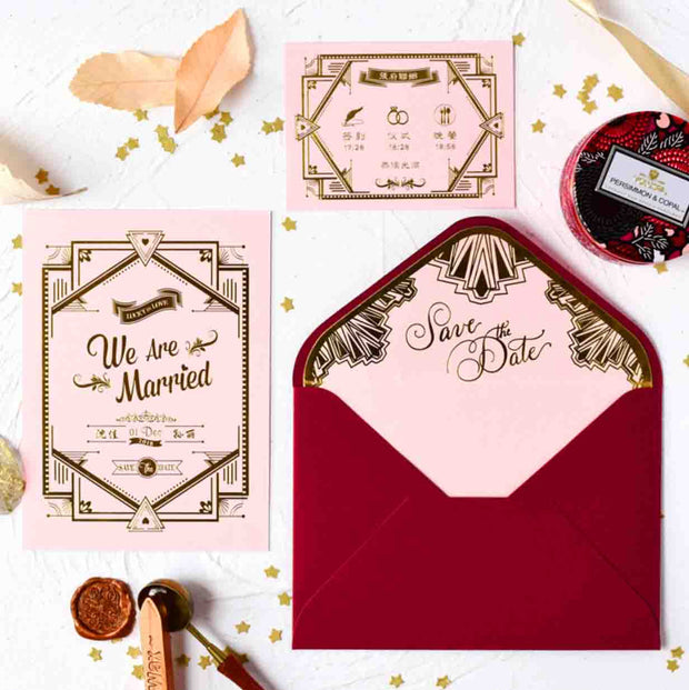60 PCS Gold Foil Gatsby Style Wedding Invitations