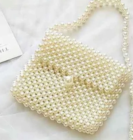 Pearl Beaded Sling Bridal Clutch Wedding Handbag