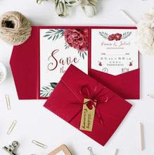 20 PCS Red Floral Wedding Invitations with a Tri-Fold Envelope Pocket