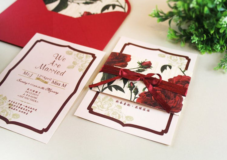 40 PCS Red Rose Wedding Invitations With Rose Envelope Lining