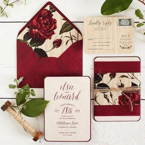 40 PCS Red Burgundy Rose Vintage Wedding Invitations