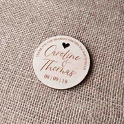 50 PCS Round Magnet Wedding Favors with Engraved Names Custom Design Heart Whole Design