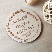 50 PCS Magnet Wedding Favors Custom Design Engraved Names Leaf Design