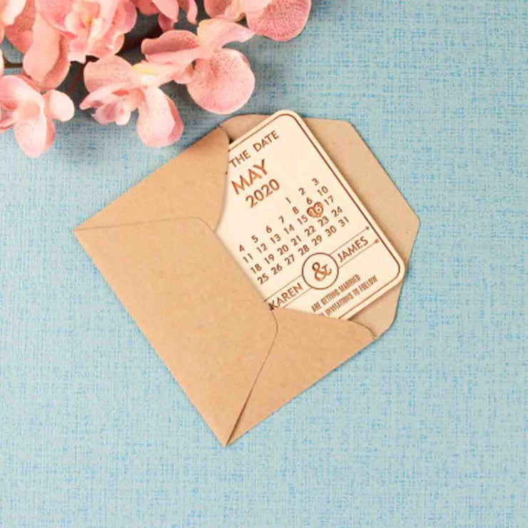 50 PCS Calendar Style Magnet Wedding Favors Custom Design Engraved Details And Dates With Envelope