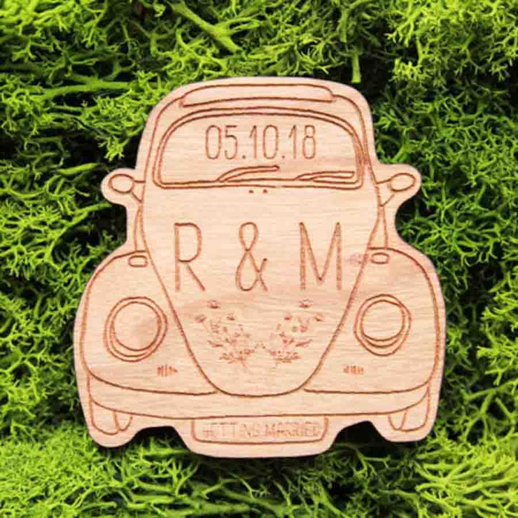 50 PCS Boxwagen Cut Wood Magnet Wedding Favors Custom Design Engraved Details