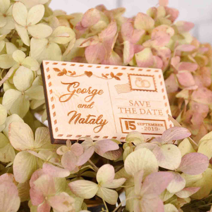 50 PCS Square Cut Magnet Wedding Favors with Engraved Details Heart and Leaves Design Custom Design