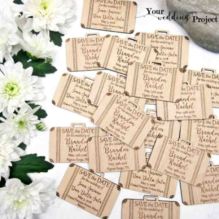 50 PCS hand Bag Attache Case Cut Magnet Wedding Favors with Engraved Dates and Names Custom Design