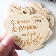 50 PCS Heart Cut Magnet Wedding Favors and Custom Design Engraved Details And Heart Hole Design