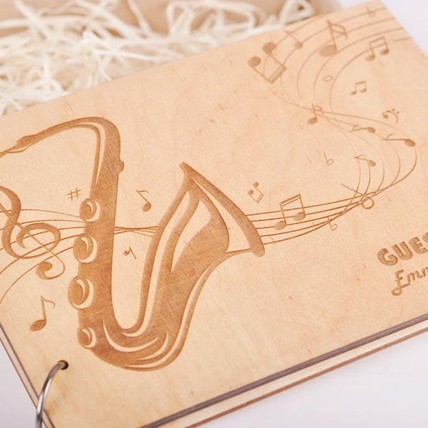 Trumpet Engraved Wooden Wedding Guest Book Custom Design Name Engraved
