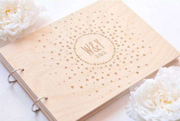 Wooden Wedding Guest Book Custom Design Mini Hearts Couple Initials Engraved
