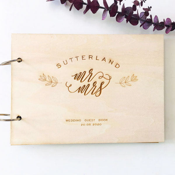 Engraved Design Wooden Wedding Guest Book Custom Design