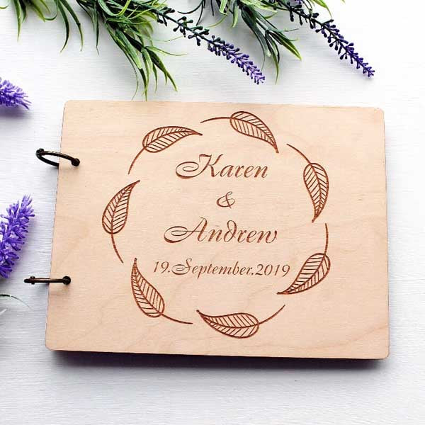 Wooden Wedding Guest Book Custom Design Names Engraved with Oval Leaves Design