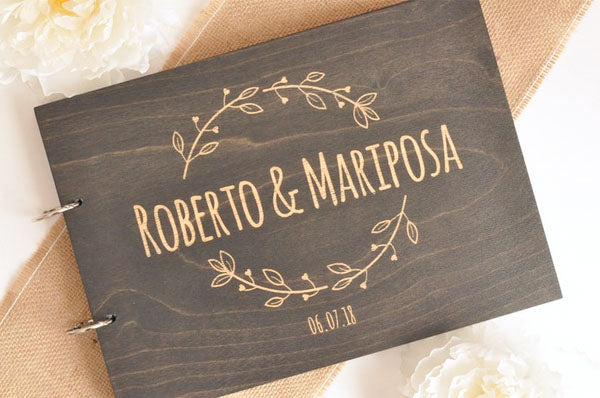 Dark Wood Wedding Guest Book Custom Design Names Engraved with Simple Design