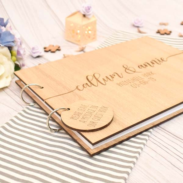 Wooden Wedding Guest Book with Custom Design Wooden Engraving