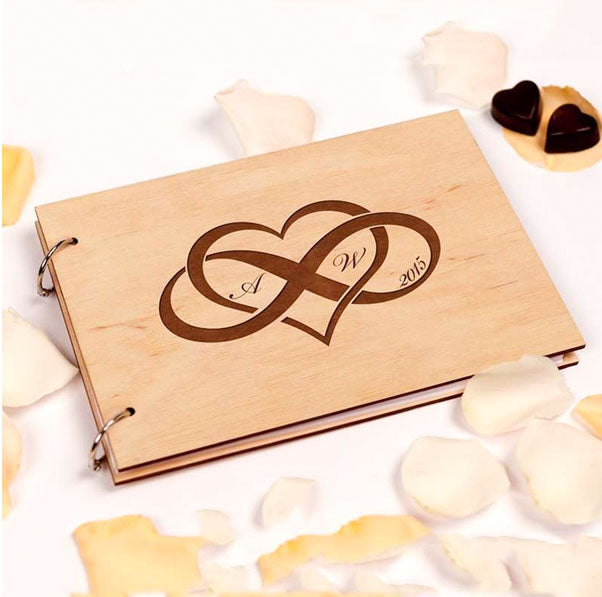 Wooden Wedding Guest Book with Custom Design Heart Infinity Design Engraved Couple Initials