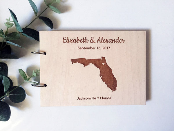 Wedding Place Map Engraved Wooden Wedding Guest Book Custom Design