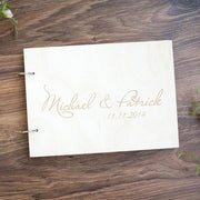 Wooden Wedding Guest Book with Custom Design Simple Name and Date Engraved Lay out