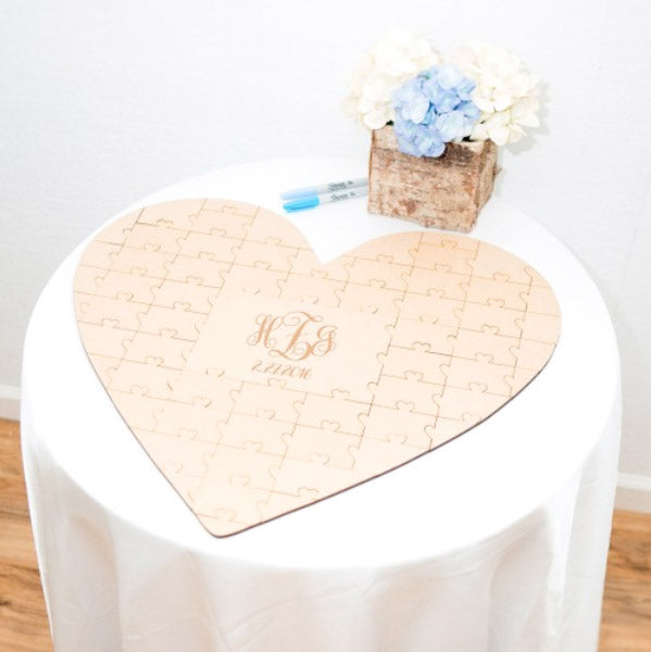 Heart Cut Wooden Wedding Guest Book with Custom Design Jigsaw Puzzle Style With Couple Initials Engraved