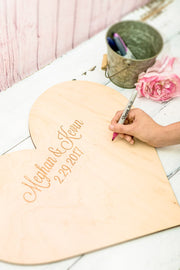 Custom Heart Shape Cut Wooden Wedding Guest Book