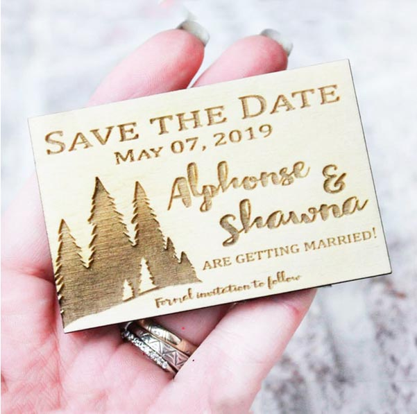 50 PCS Magnet Wedding Favors with Engraved Details and Custom Design