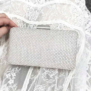 Elegant Rectangular Silver Bridal Clutch Wedding Handbag