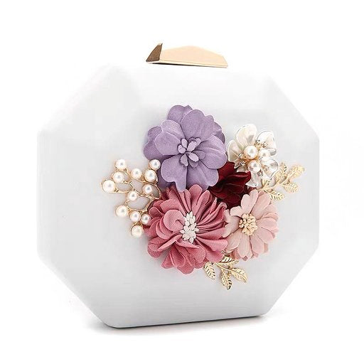 Octagon Bridal Clutch Wedding Handbag with Beaded Floral Design