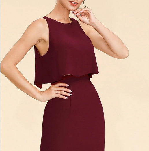 Sleeveless Maroon Bridesmaids Dress with Perfect Fit with Semi Backless and Layered Ruffle Skirt