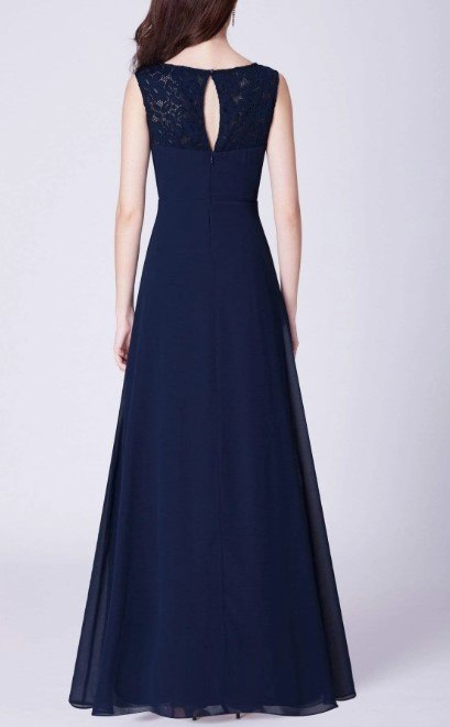 Navy Blue Bridesmaids Dress with Perfect Fit with Lace Design on top and Semi-pleated Skirt