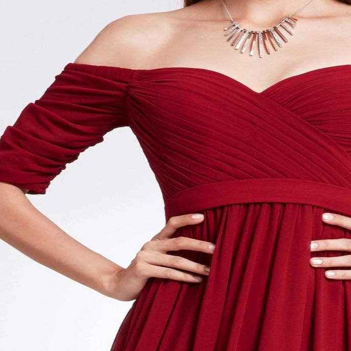 Red Three-Fourths Sleeve Off Shoulder Bridesmaids Dress with Perfect Fit with Flowy Skirt
