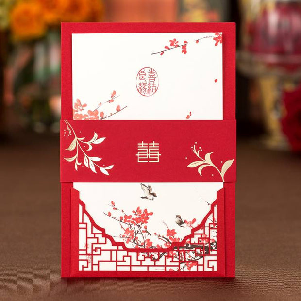 40 PCS Chinese Laser Cut Wedding Invitation Set with Main Invite and Envelope