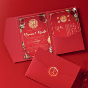 40 PCS Chinese Wedding Invitation With Tri-Fold Envelope Pack, 2 Main Cards, & Sticker