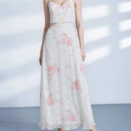 Spaghetti Strap Floral Print Chiffon Bridesmaids Dress with Perfect Fit