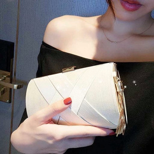 Elegant Stain Fabric Bridal Clutch Wedding Handbag with Tassel