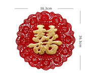 8 PCS Exquisite Laser Cut Double Happiness 3D Paper Cut Out Wall Sticker