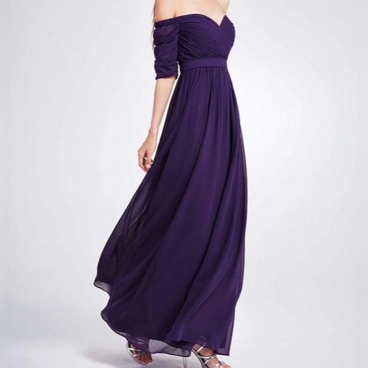 Purple  Three- Fourths Sleeve Off Shoulder Bridesmaids Dress with Perfect Fit with Chiffon Skirt