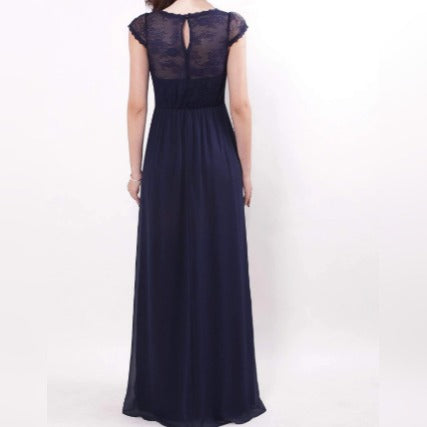 Navy Blue Semi Sleeve Bridesmaids Dress with Perfect Fit with See-through Lace Design Top with Inner Tube Design