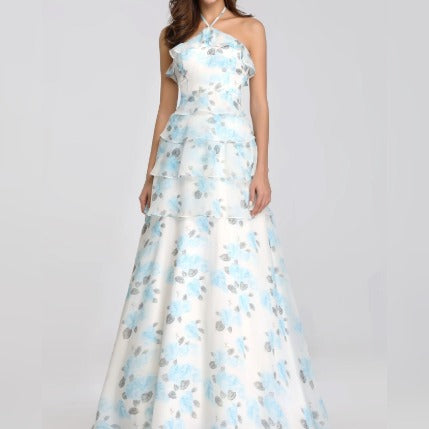 Halter Neck Floral Printed Bridesmaids Dress with Perfect Fit with Ruffle Skirt