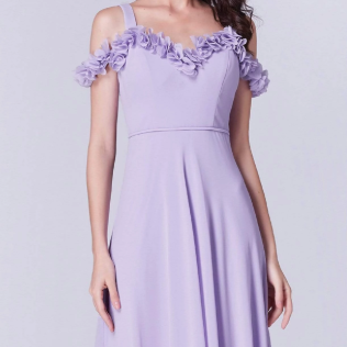 Lavender Bridesmaids Dress with Perfect Fit with Cold Shoulder Ruffle Sleeve