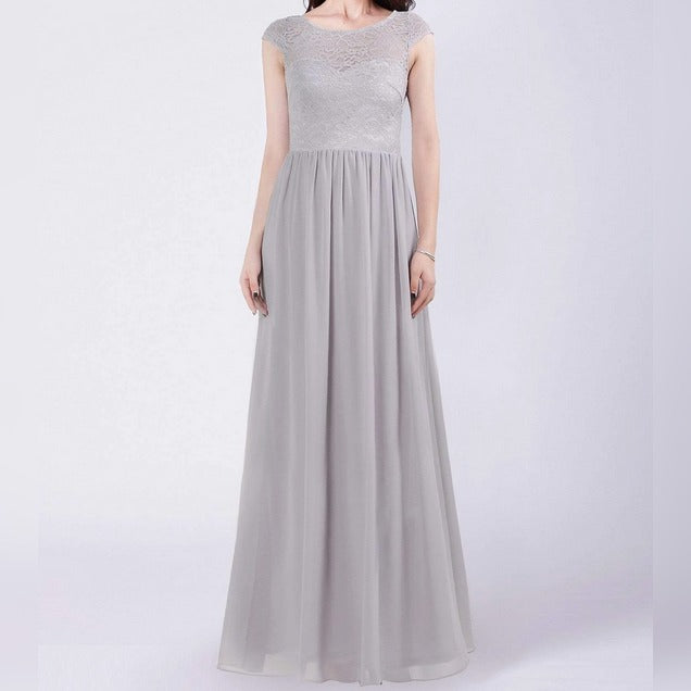 Gray Maxi Bridesmaids Dress with Perfect Fit with Illusion Neckline