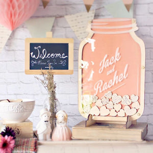 'Best Wishes Jar' Personalized Guest Book Alternative Idea For Wood or Rustic Themed Wedding