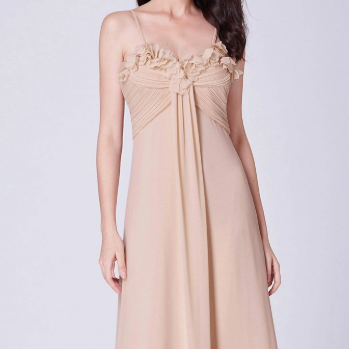 Beige Bridesmaids Dress with Perfect Fit with Ruched  ans Ruffle Design Top
