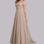 Beige Bridesmaids Dress with Perfect Fit with Queen Anna Neckline and Silver Sequin Design