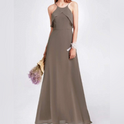 Brown Bridesmaids Dress with Perfect Fit with Halter Flutter Sleeves